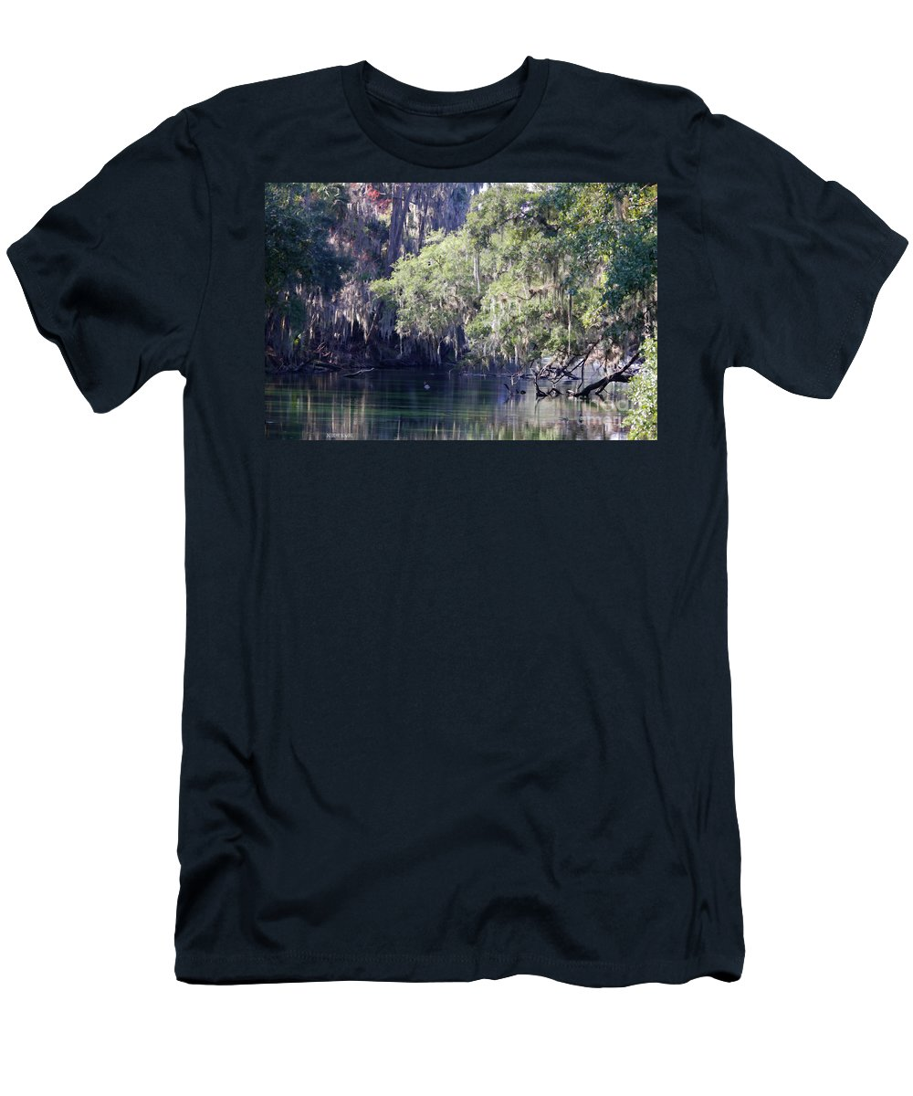 Trees Men's T-Shirt (Athletic Fit) featuring the photograph Moss At Blue Springs by Deborah Benoit