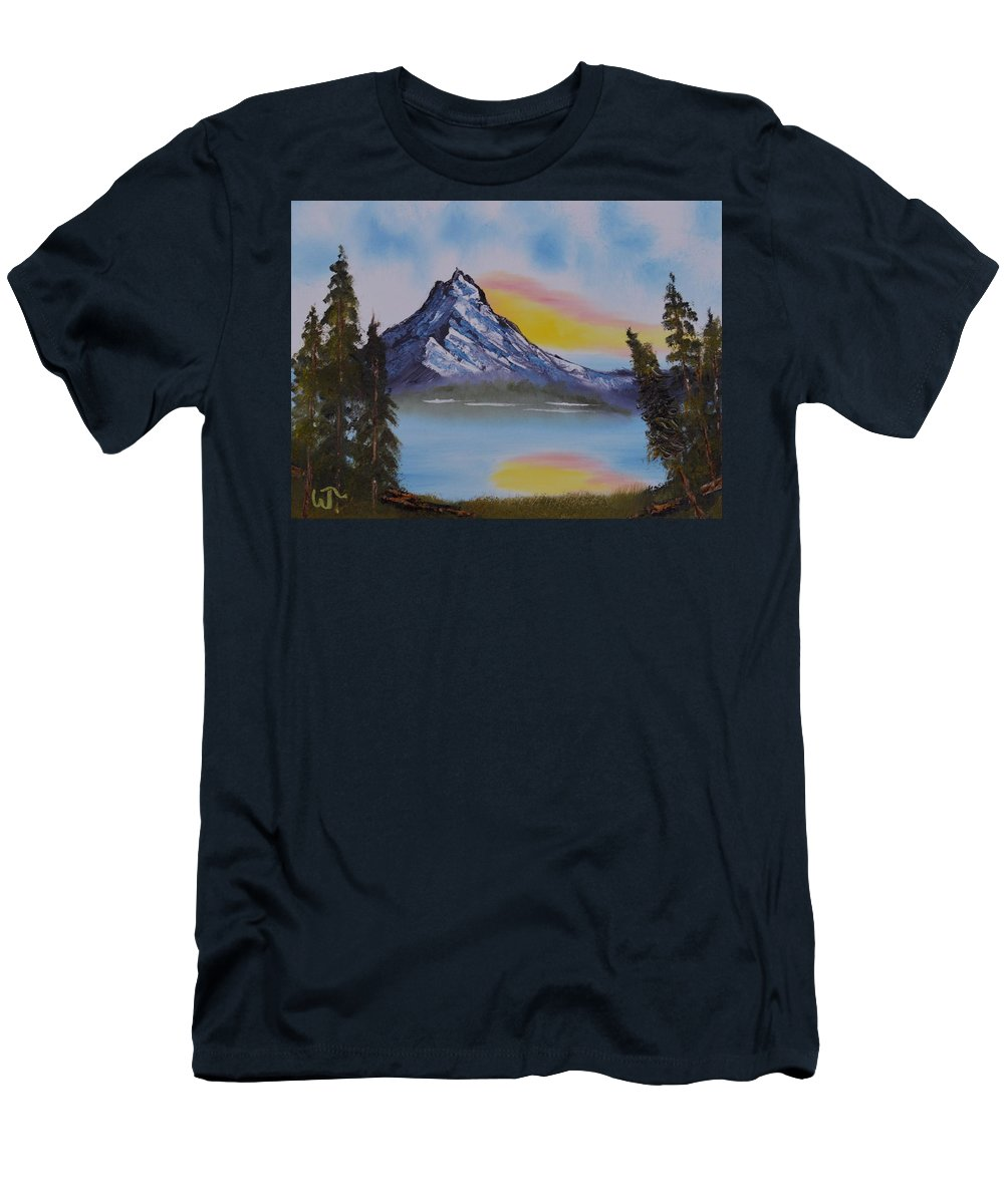 Mountain Sunset 2 Men's T-Shirt (Athletic Fit) featuring the painting Mountain Sunset 2 by Warren Thompson