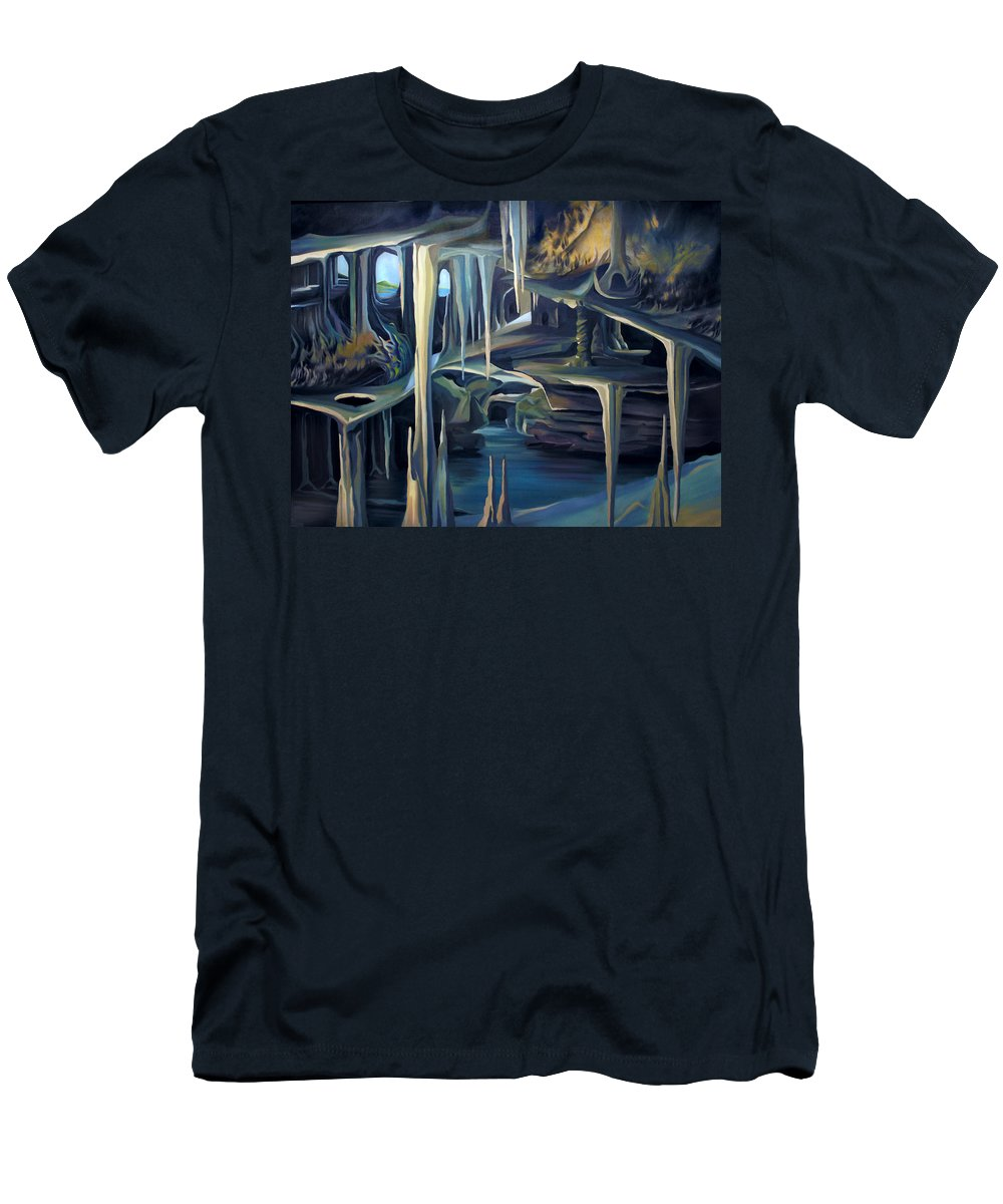 Mural Men's T-Shirt (Athletic Fit) featuring the painting Mural Ice Monks In November by Nancy Griswold