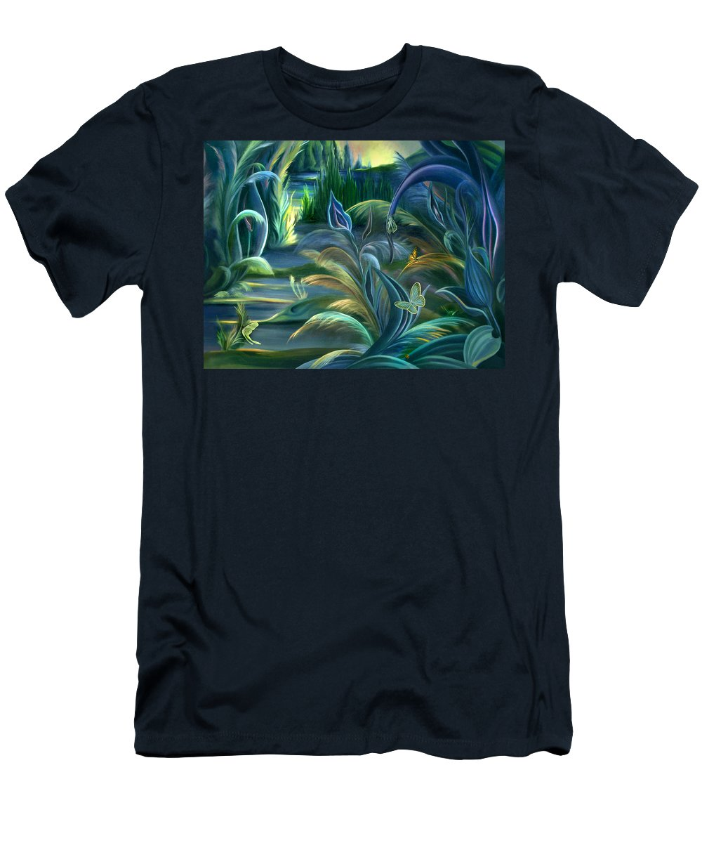 Mural Men's T-Shirt (Athletic Fit) featuring the painting Mural Insects Of Enchanted Stream by Nancy Griswold