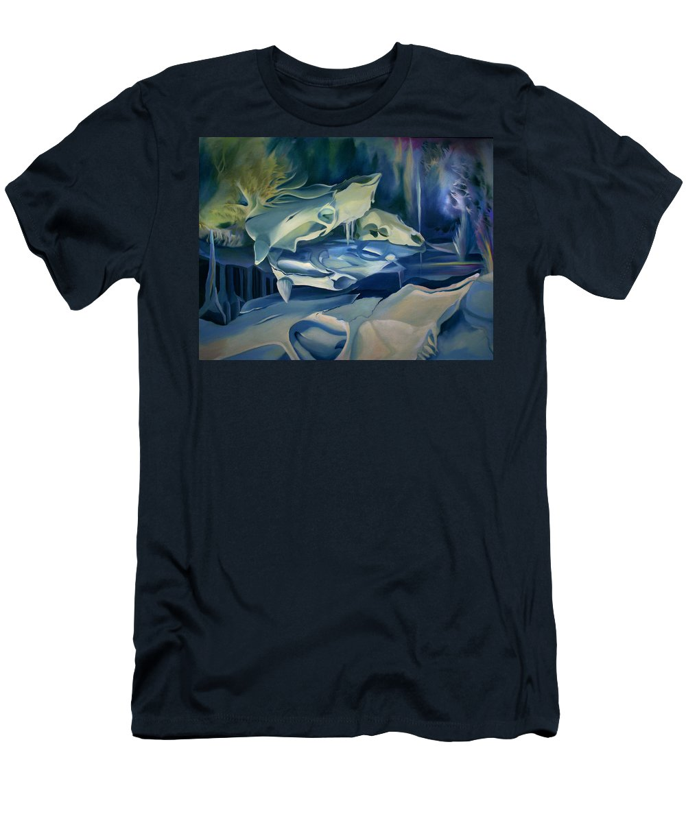 Surreal Men's T-Shirt (Athletic Fit) featuring the painting Mural Skulls Of Lifes Past by Nancy Griswold
