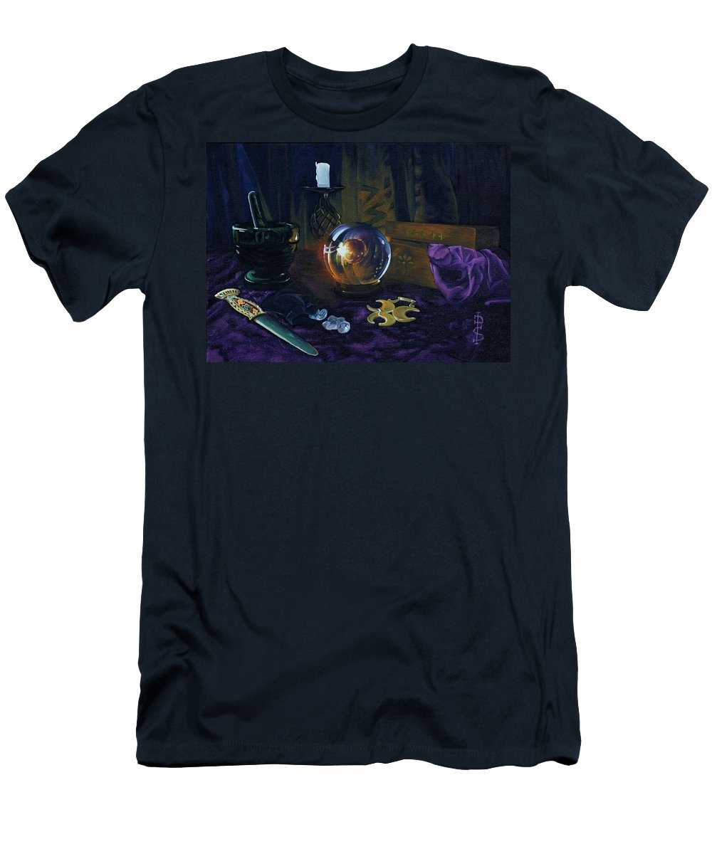 Still Life Mystic Crystal Ball Pestle Mortar Knife Runes Horse Brasspuple Silk Candle Men's T-Shirt (Athletic Fit) featuring the painting Mystic Still Life by Pauline Sharp