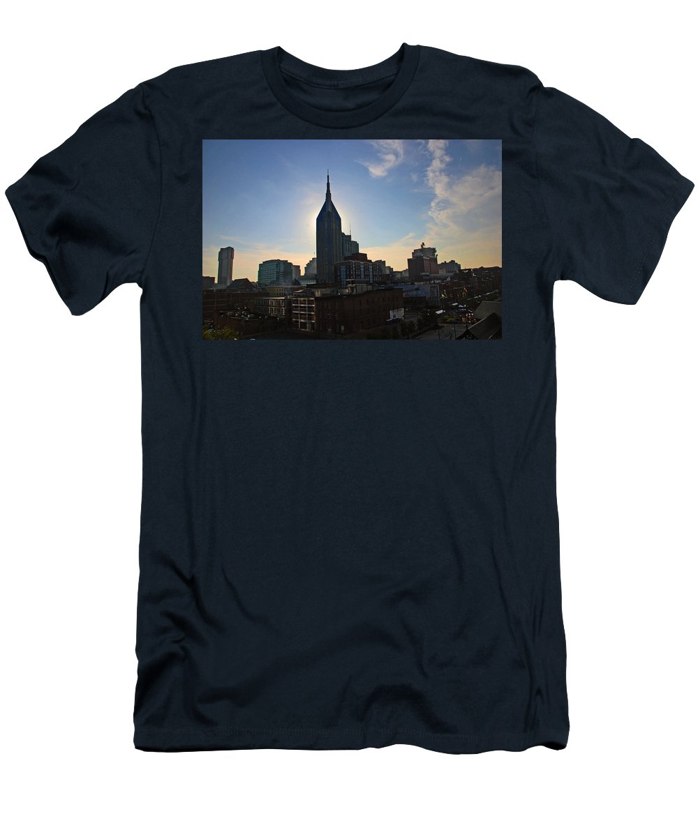 Nashville Photos Men's T-Shirt (Athletic Fit) featuring the photograph Nashville Skyline by Susanne Van Hulst