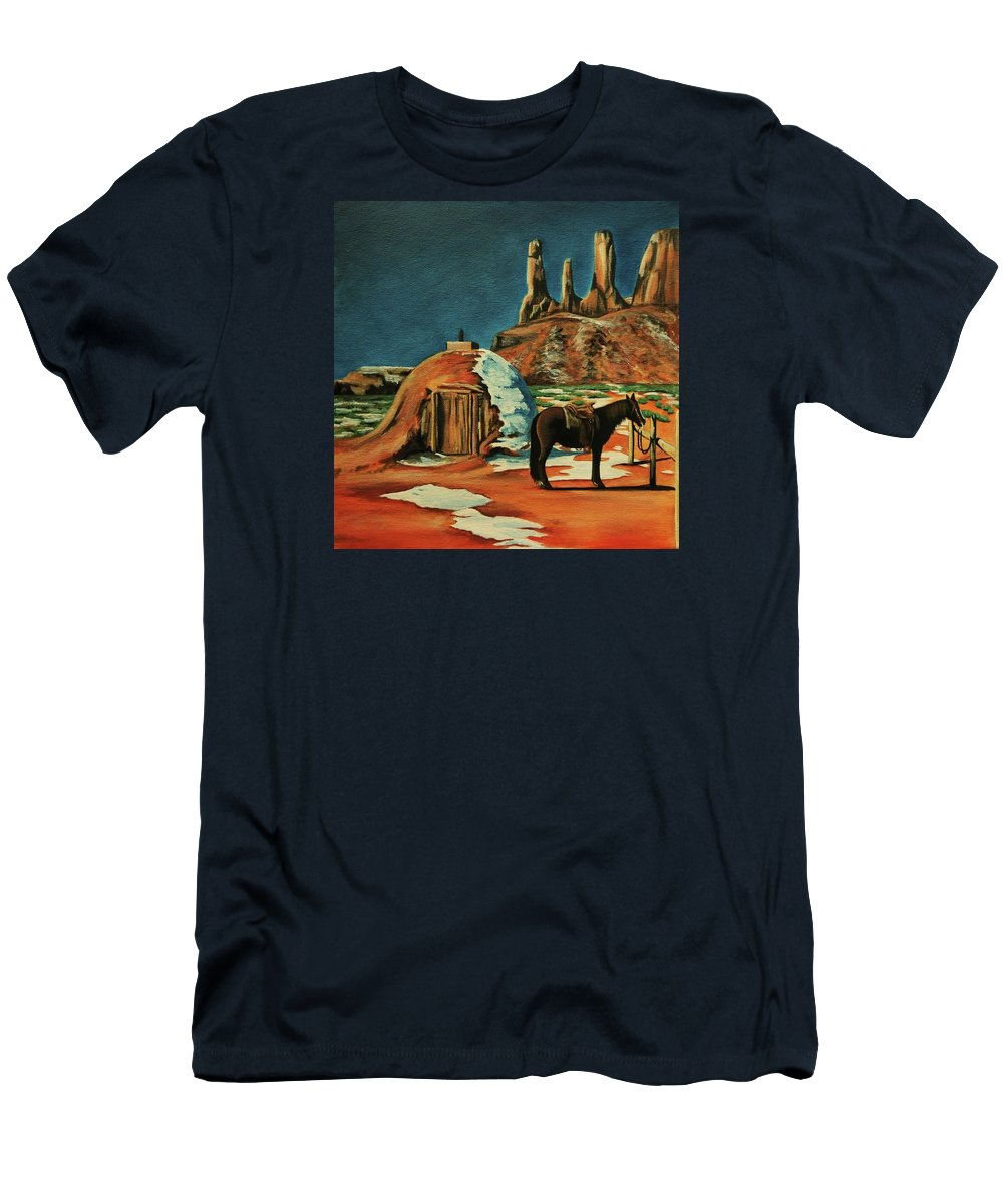Native American Indian Men's T-Shirt (Athletic Fit) featuring the painting Native American Hogan by Lucy Deane