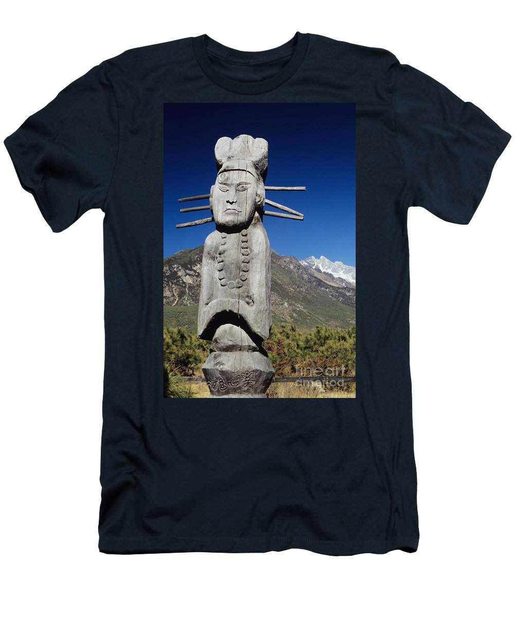 Architectural Art Men's T-Shirt (Athletic Fit) featuring the photograph Naxi Ceremonial Totems by Gloria and Richard Maschmeyer - Printscapes