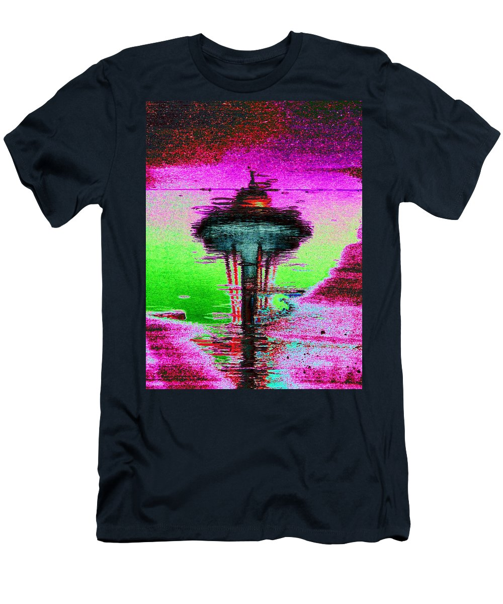 Seattle Men's T-Shirt (Athletic Fit) featuring the digital art Needle In A Raindrop Stack by Tim Allen