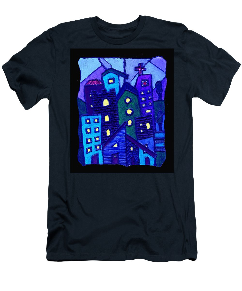 Urban Men's T-Shirt (Athletic Fit) featuring the painting Neighborhood Blues by Wayne Potrafka