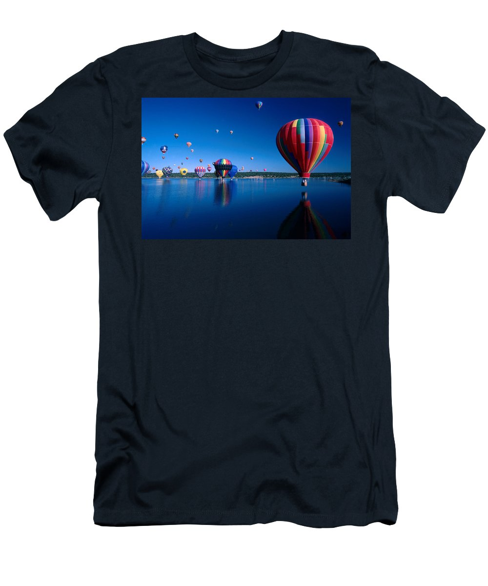 Hot Air Balloon Men's T-Shirt (Athletic Fit) featuring the photograph New Mexico Hot Air Balloons by Jerry McElroy