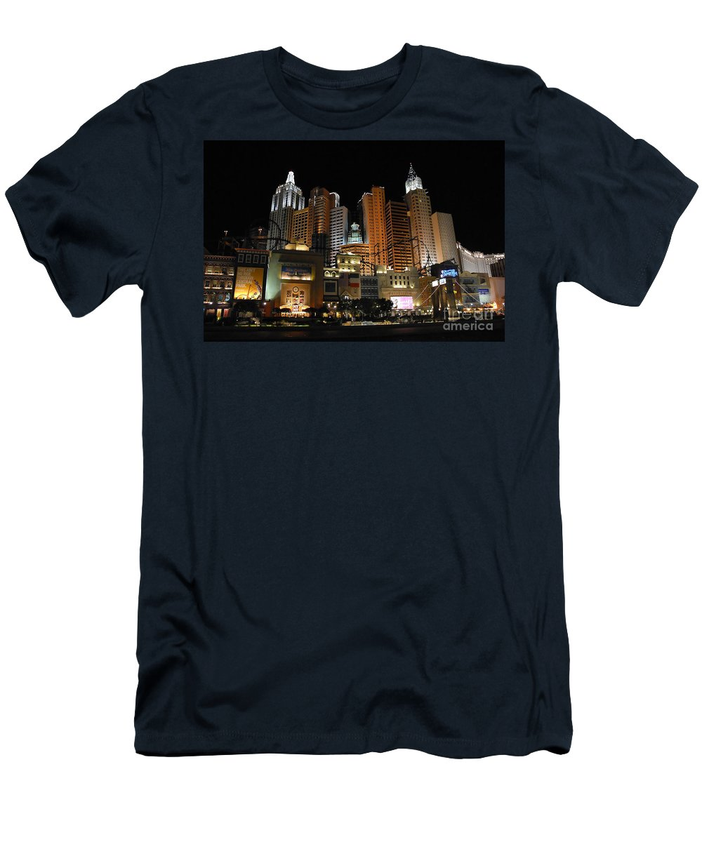 New York Men's T-Shirt (Athletic Fit) featuring the photograph New York Las Vegas by David Lee Thompson