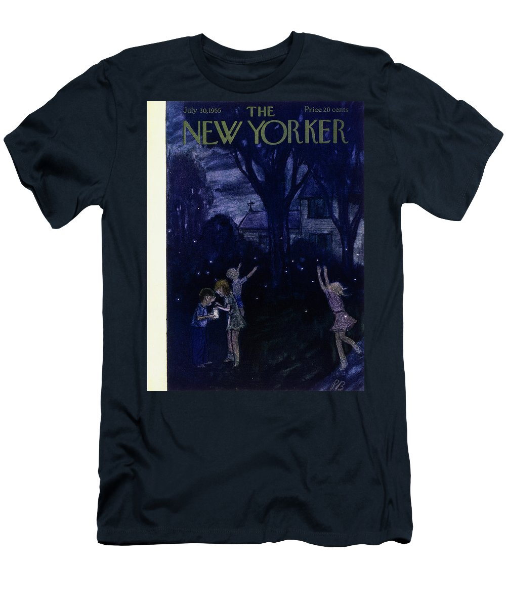 Night Men's T-Shirt (Athletic Fit) featuring the painting New Yorker July 30 1955 by Perry Barlow