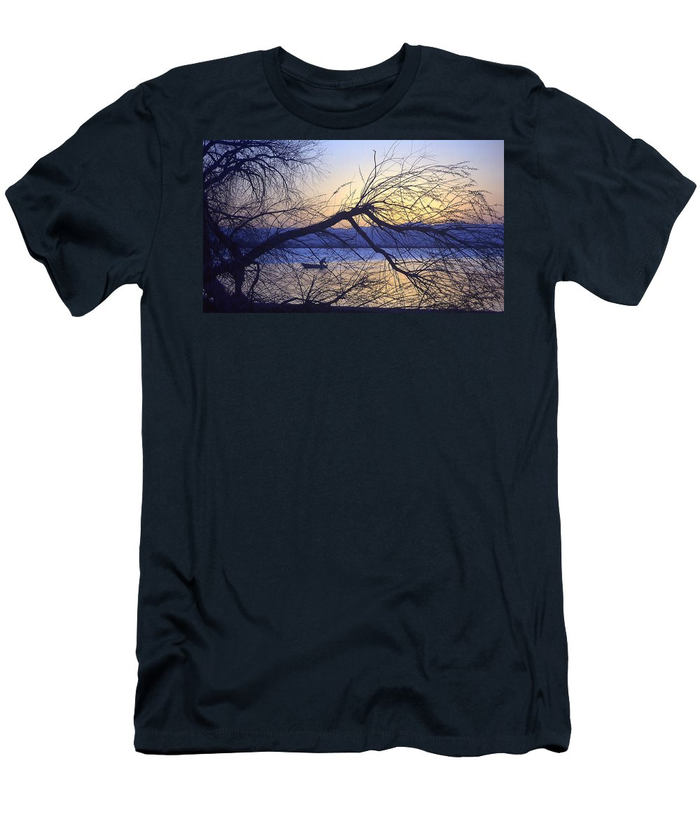 Barr Lake Men's T-Shirt (Athletic Fit) featuring the photograph Night Fishing In Barr Lake Colorado by Merja Waters