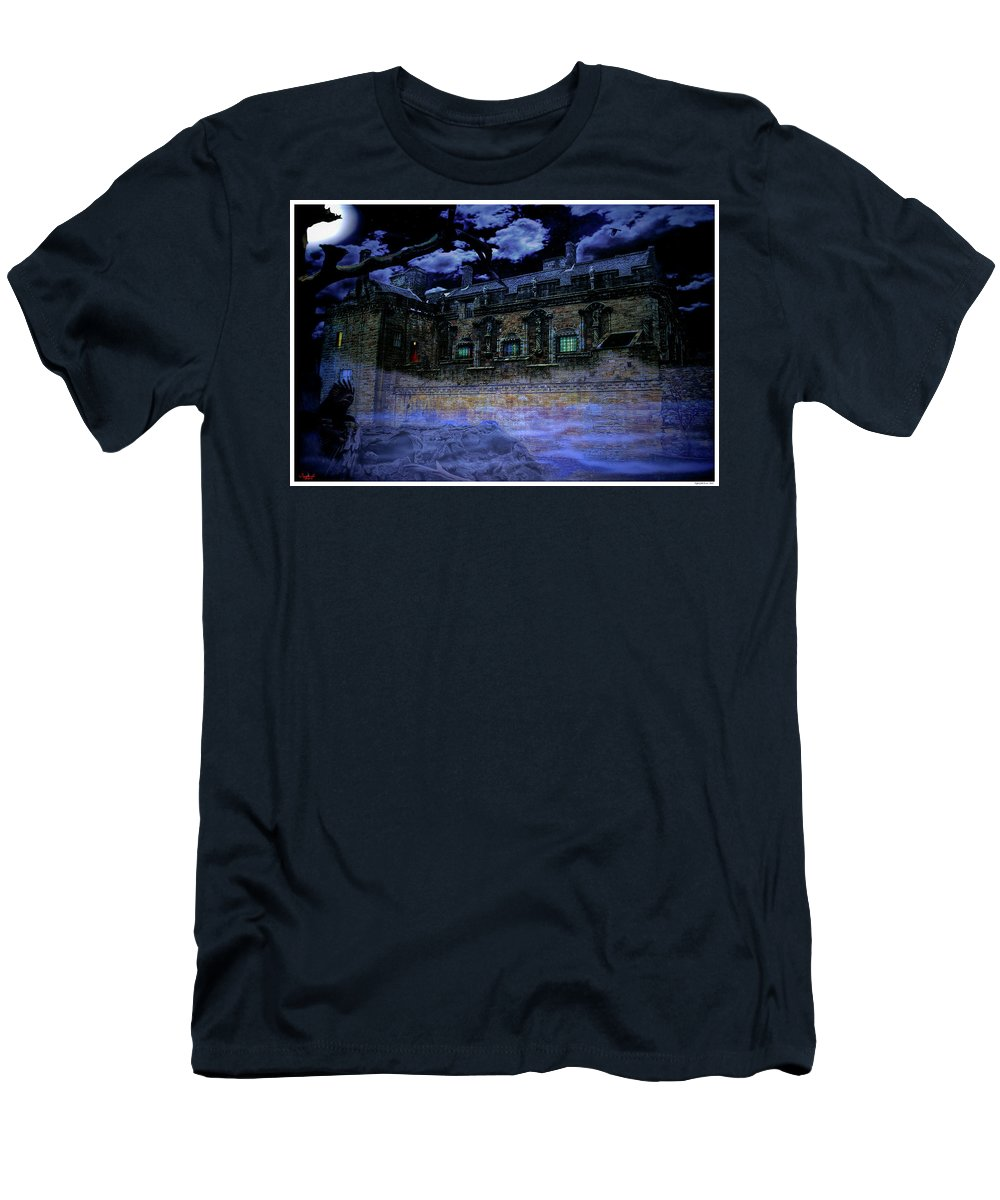 Castle Men's T-Shirt (Athletic Fit) featuring the mixed media Night Of The Raven by Rogermike Wilson