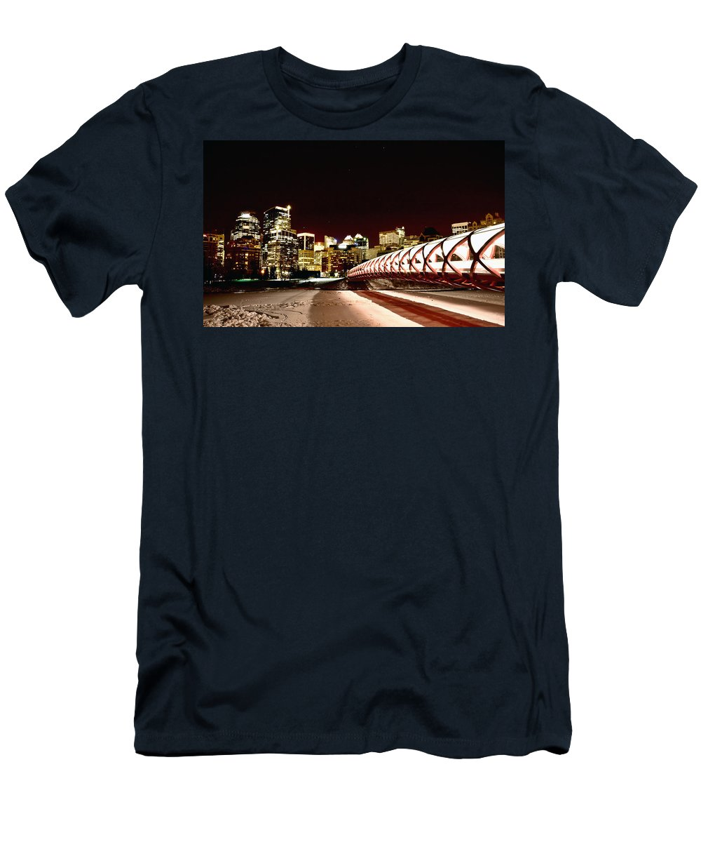 Calgary Men's T-Shirt (Athletic Fit) featuring the photograph Night Shots Calgary Alberta Canada by Mark Duffy