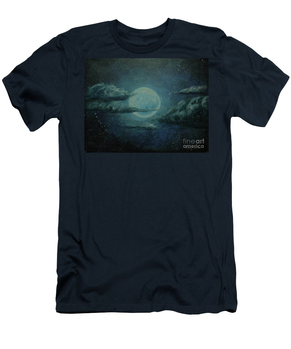 Moon Men's T-Shirt (Athletic Fit) featuring the painting Night Sky Peek-a-boo by Kathy Carlson