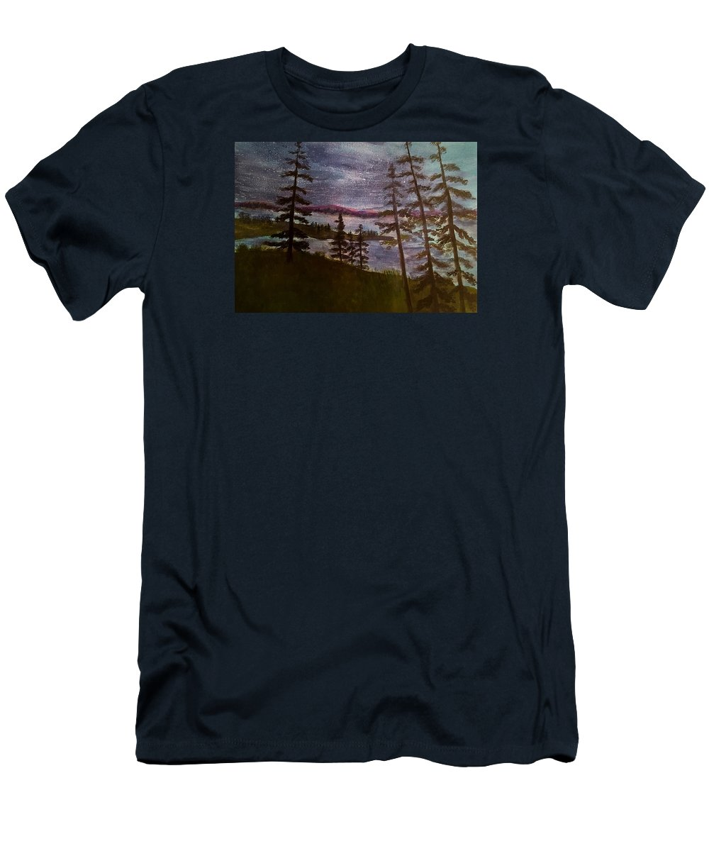Rangely Maine Men's T-Shirt (Athletic Fit) featuring the painting Nightime Rangely Lake Maine by Anne Sands