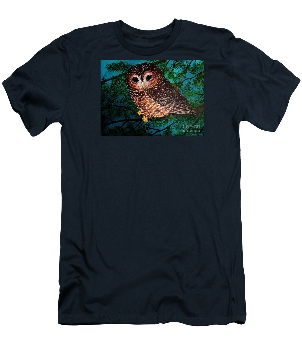 Owl Painting Men's T-Shirt (Athletic Fit) featuring the painting Northern Spotted Owl by Nick Gustafson
