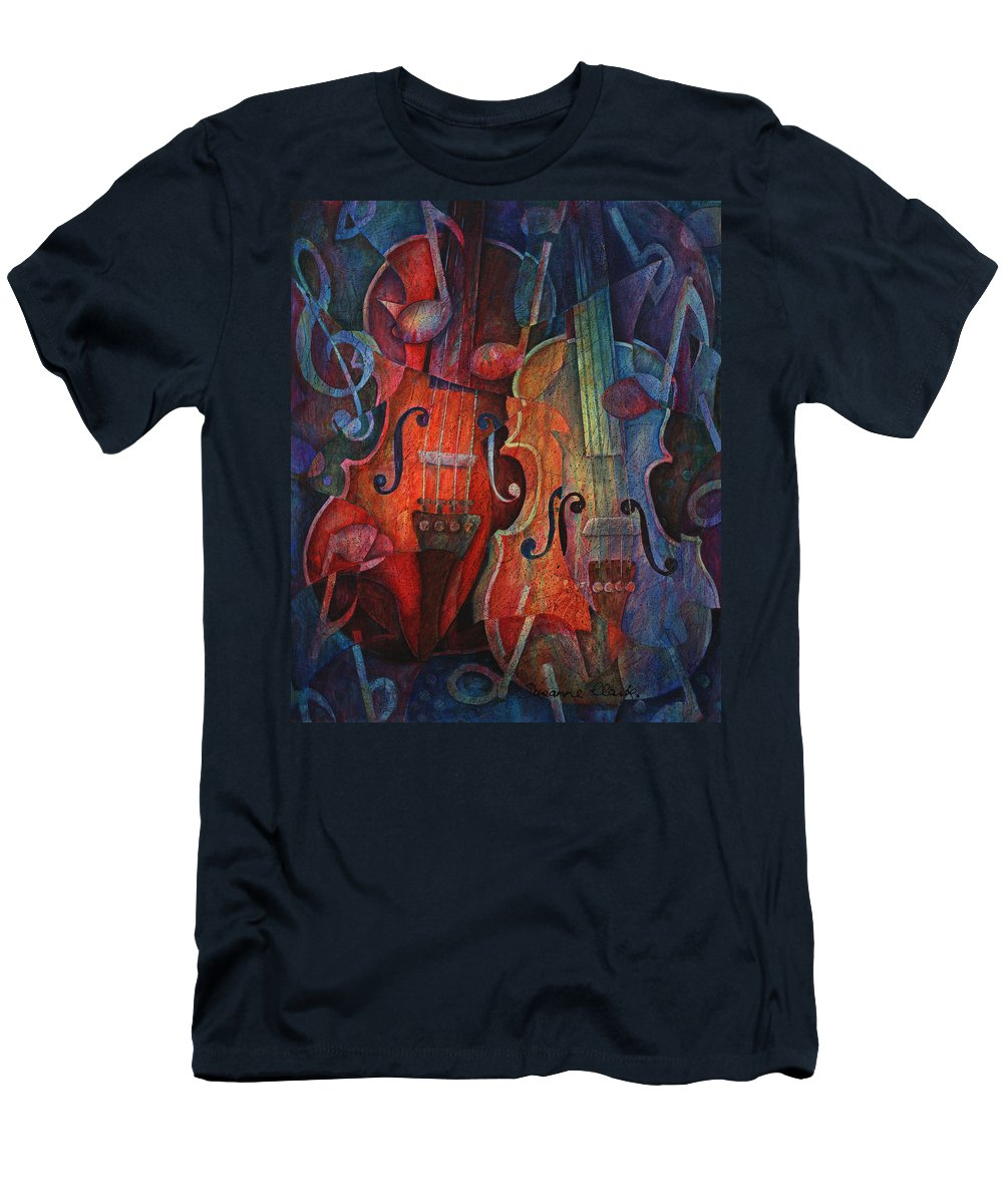 Susanne Clark Men's T-Shirt (Athletic Fit) featuring the painting Noteworthy - A Viola Duo by Susanne Clark