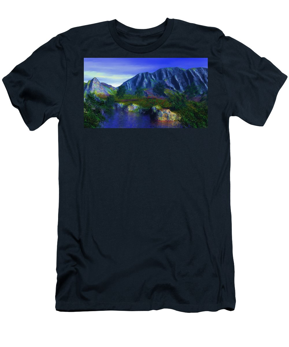Fine Art Men's T-Shirt (Athletic Fit) featuring the digital art Oasis by David Lane
