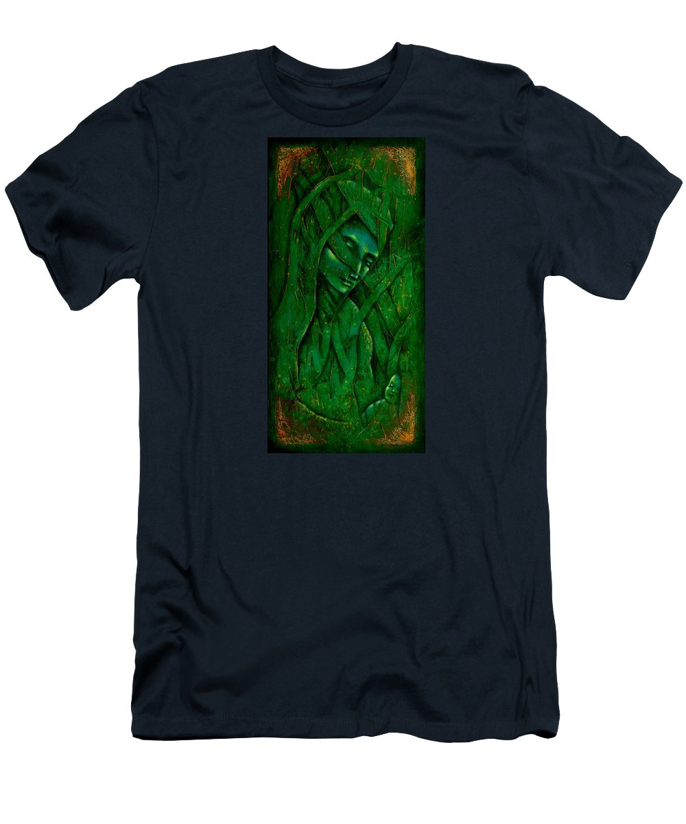 Native American Men's T-Shirt (Athletic Fit) featuring the painting Ocean Birth by Kevin Chasing Wolf Hutchins