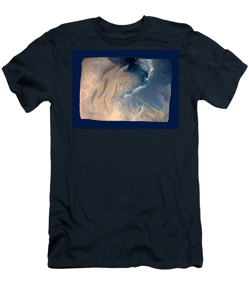 Seascape Men's T-Shirt (Athletic Fit) featuring the painting Ocean by Steve Karol