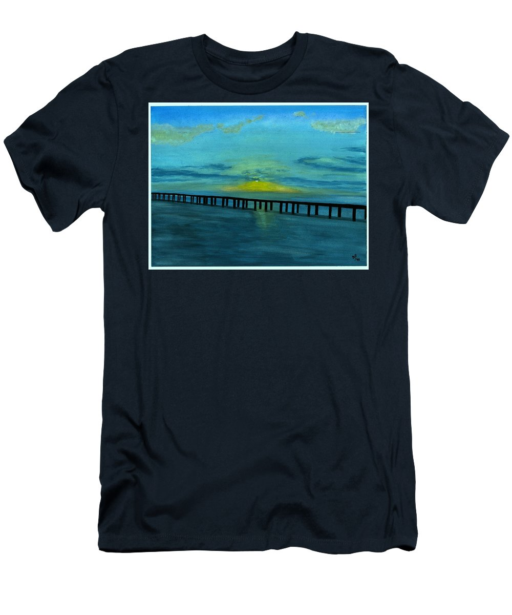 Ocean Men's T-Shirt (Athletic Fit) featuring the painting Ocean Sunset by David Bartsch