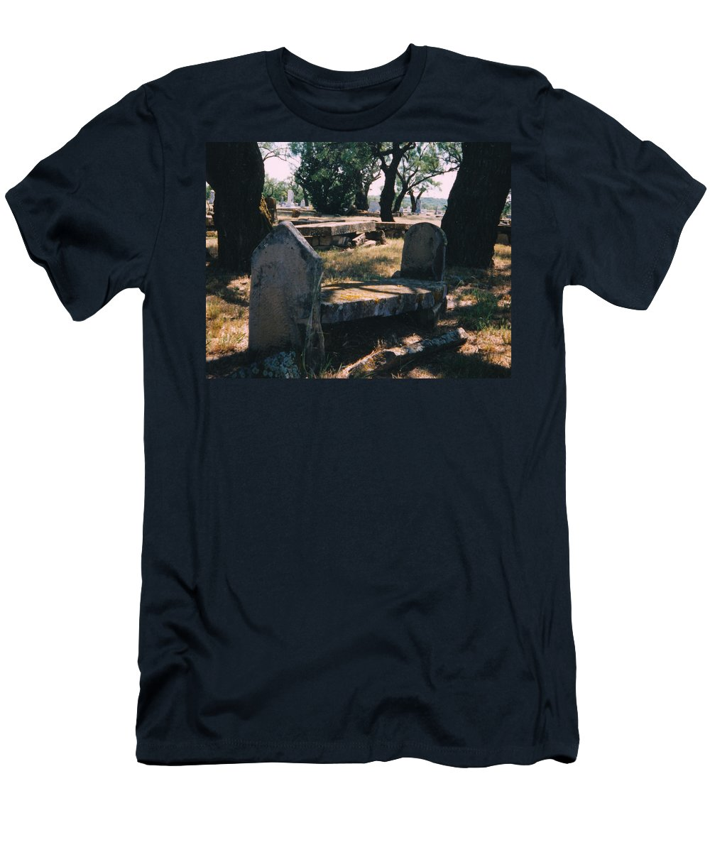 Grave Old Cementery Rocks Men's T-Shirt (Athletic Fit) featuring the photograph Old Grave by Cindy New