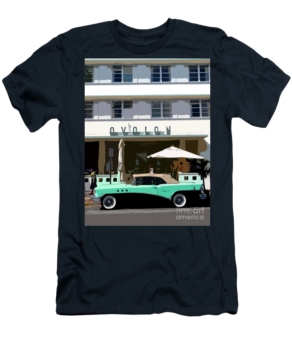 Miami Beach Florida Men's T-Shirt (Athletic Fit) featuring the photograph Old Miami Beach by David Lee Thompson
