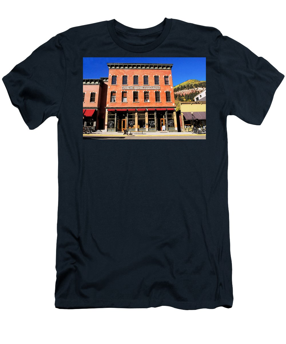 Telluride Colorado Men's T-Shirt (Athletic Fit) featuring the painting Old Telluride by David Lee Thompson