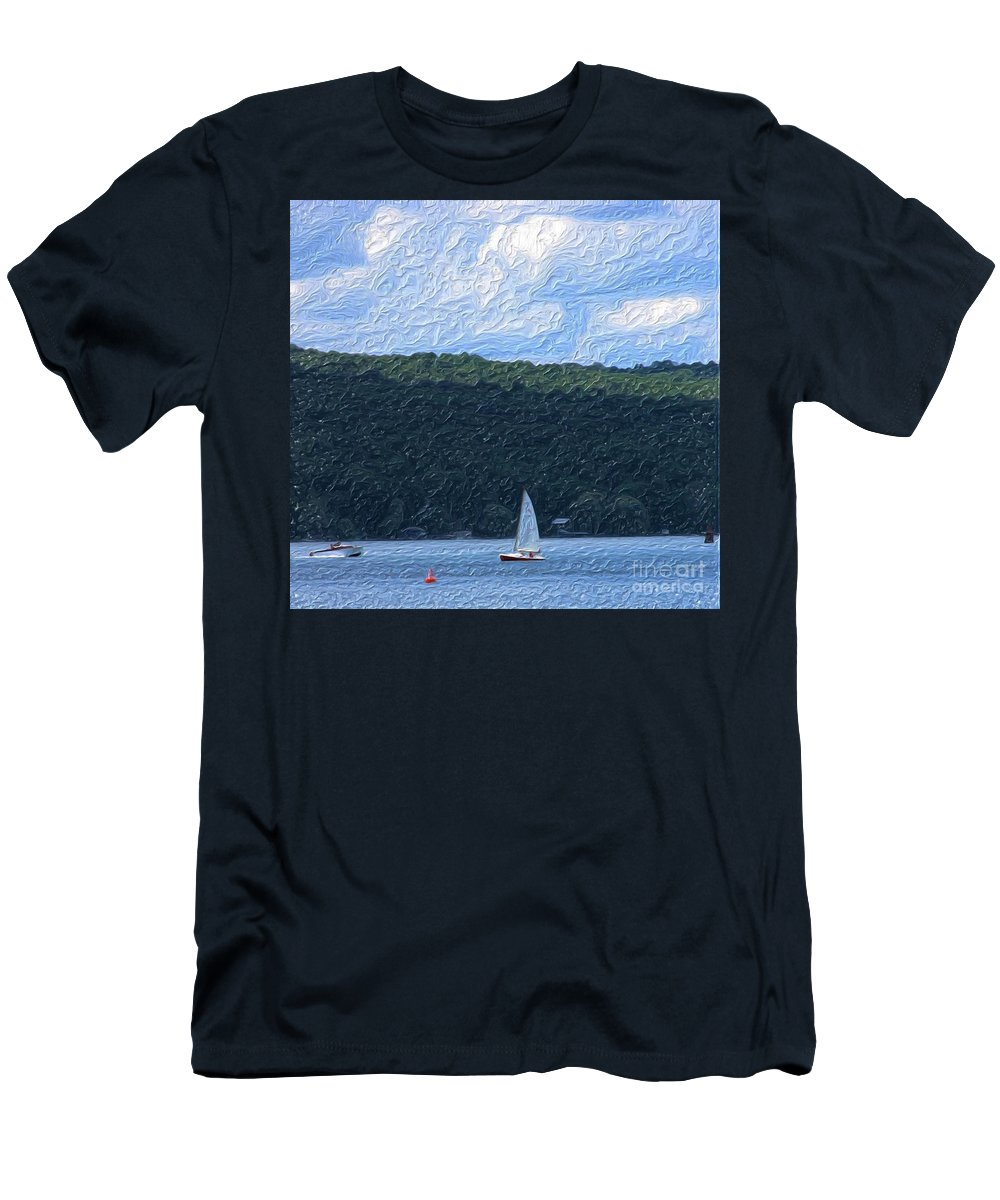 Landscape Men's T-Shirt (Athletic Fit) featuring the photograph On Cayuga Lake by David Lane