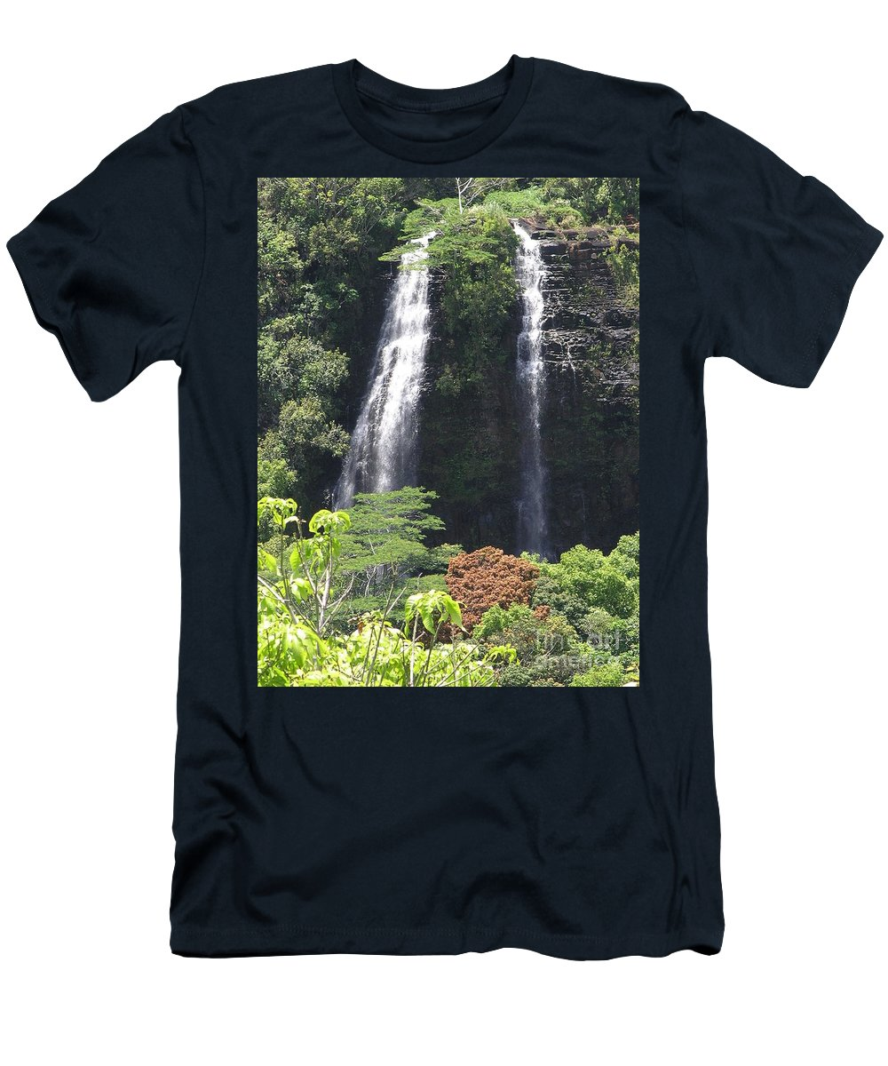 Mary Deal8waterfalls Men's T-Shirt (Athletic Fit) featuring the photograph Opaekaa Falls On Kauai Before A Storm by Mary Deal