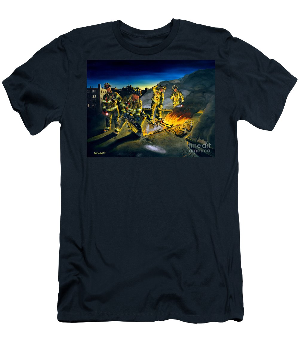 Firefighters In Action Men's T-Shirt (Athletic Fit) featuring the painting Opening Up by Paul Walsh