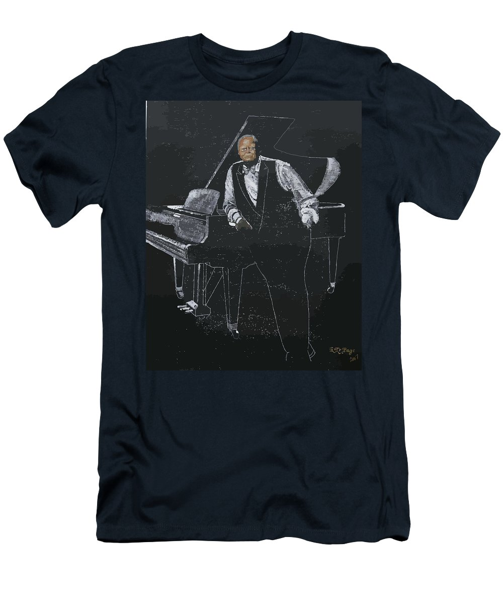 Jazz Men's T-Shirt (Athletic Fit) featuring the painting Oscar Peterson by Richard Le Page