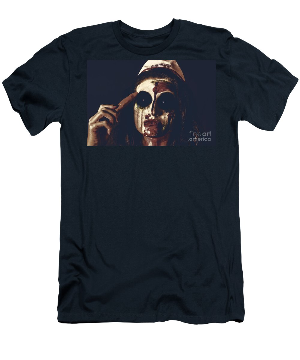 Zombie Men's T-Shirt (Athletic Fit) featuring the photograph Pale Ghost With Black Eyes Thinking Up Bad Idea by Jorgo Photography - Wall Art Gallery