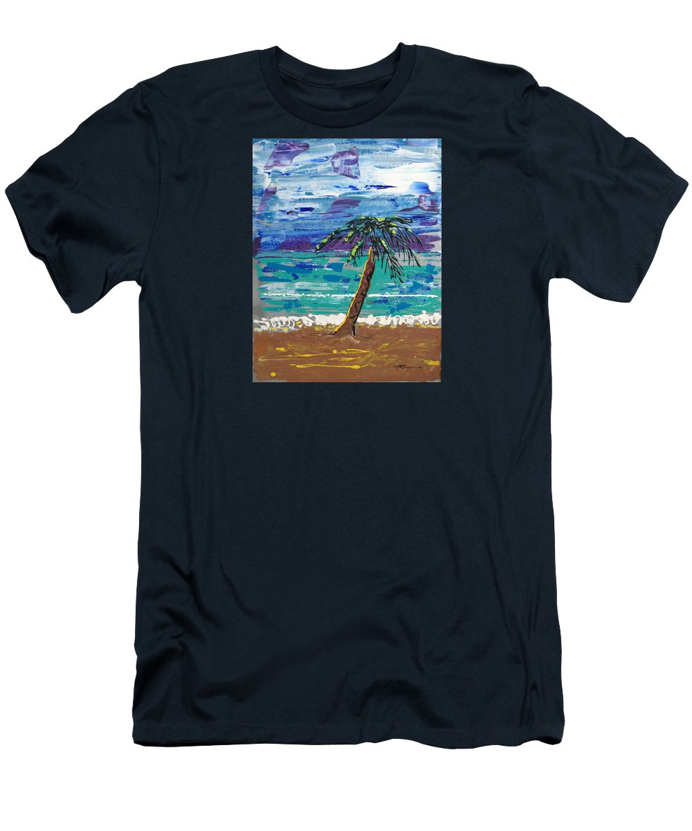 Palm Tree Men's T-Shirt (Athletic Fit) featuring the painting Palm Beach by J R Seymour