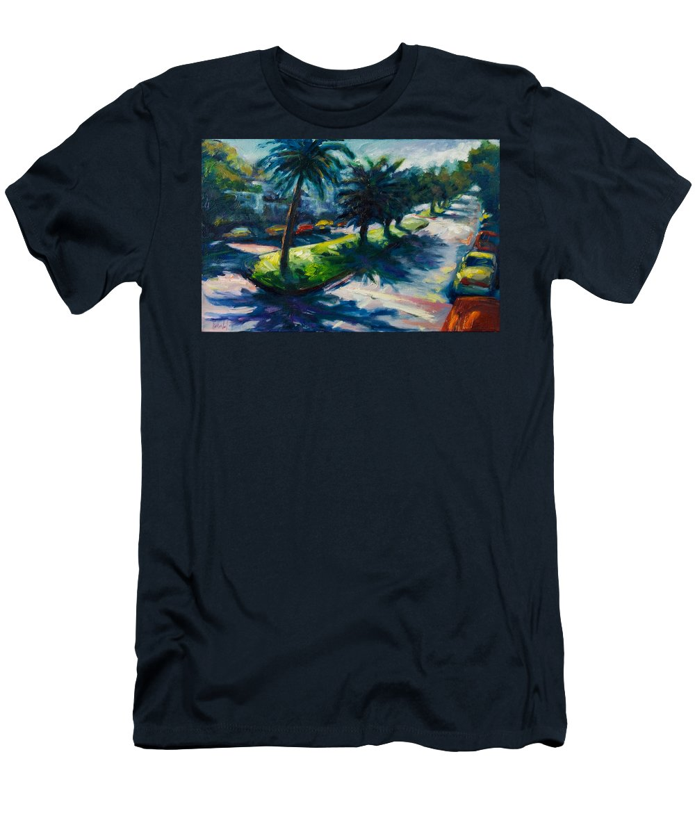 Cityscape Men's T-Shirt (Athletic Fit) featuring the painting Palm Trees by Rick Nederlof