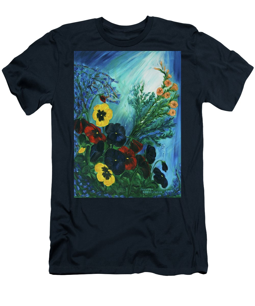 Fairies Men's T-Shirt (Athletic Fit) featuring the painting Pansies And Poise by Jennifer Christenson