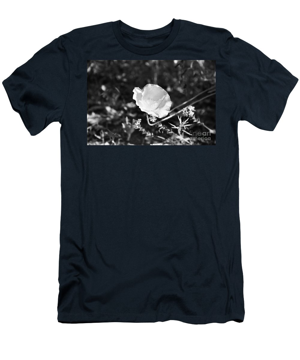 Flowers Men's T-Shirt (Athletic Fit) featuring the photograph Paper Flower In B And W by Kathy McClure