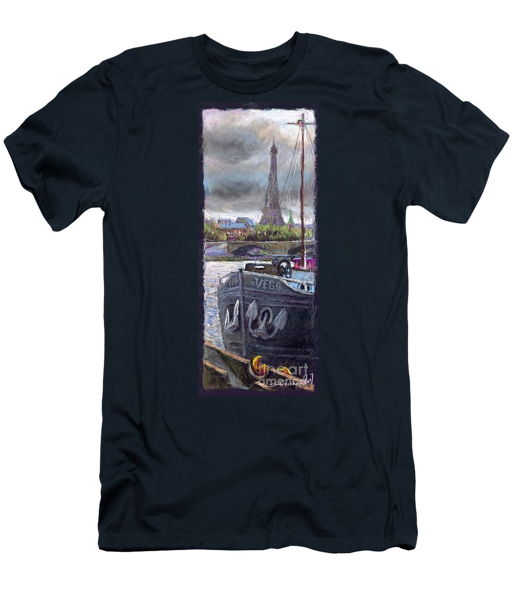 Pastel Men's T-Shirt (Athletic Fit) featuring the painting Paris Pont Alexandre IIi by Yuriy Shevchuk