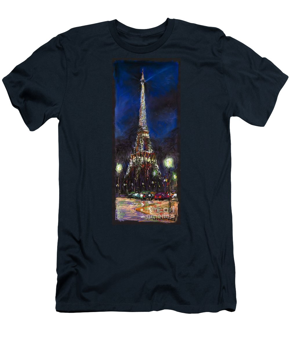 Pastel Men's T-Shirt (Athletic Fit) featuring the painting Paris Tour Eiffel by Yuriy Shevchuk