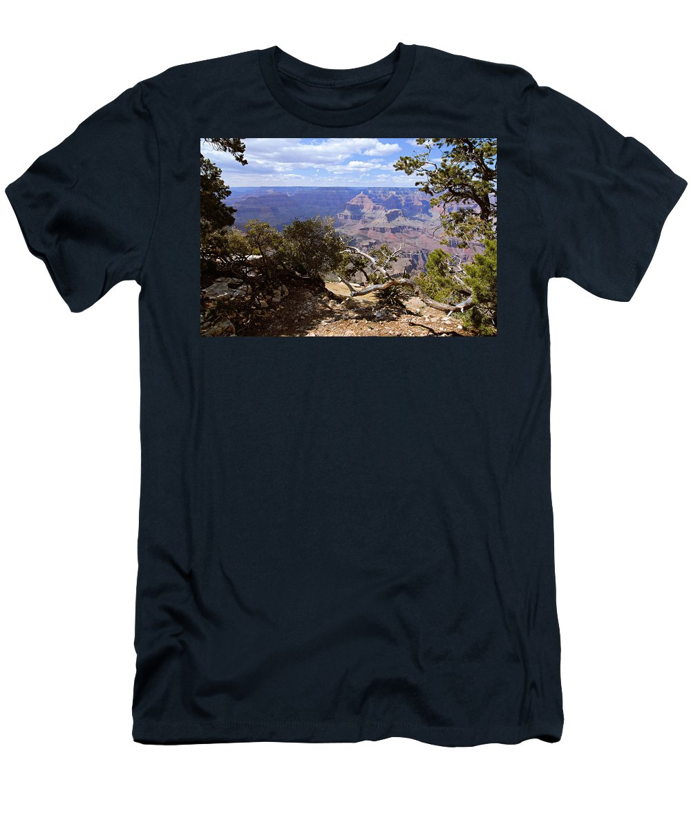 Grand Canyon National Park Men's T-Shirt (Athletic Fit) featuring the photograph Partly Cloudy - Grand Canyon by Larry Ricker