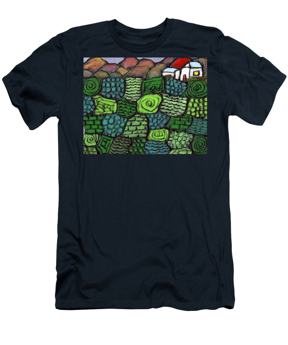Green Men's T-Shirt (Athletic Fit) featuring the painting Patches Of Green by Wayne Potrafka