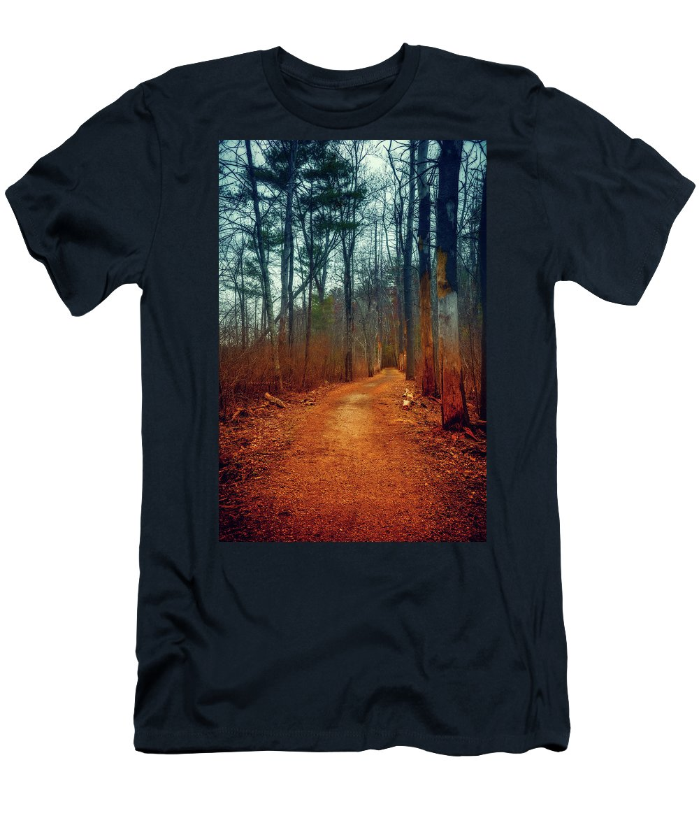 Woods Men's T-Shirt (Athletic Fit) featuring the photograph Path by Lilia D