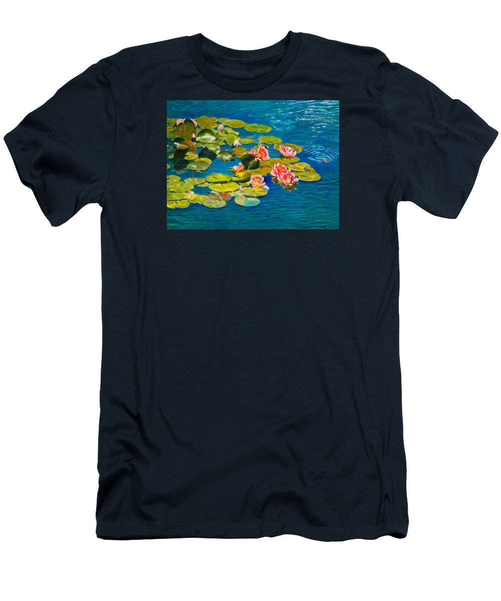 Water Lilies Men's T-Shirt (Athletic Fit) featuring the painting Peaceful Belonging by Michael Durst