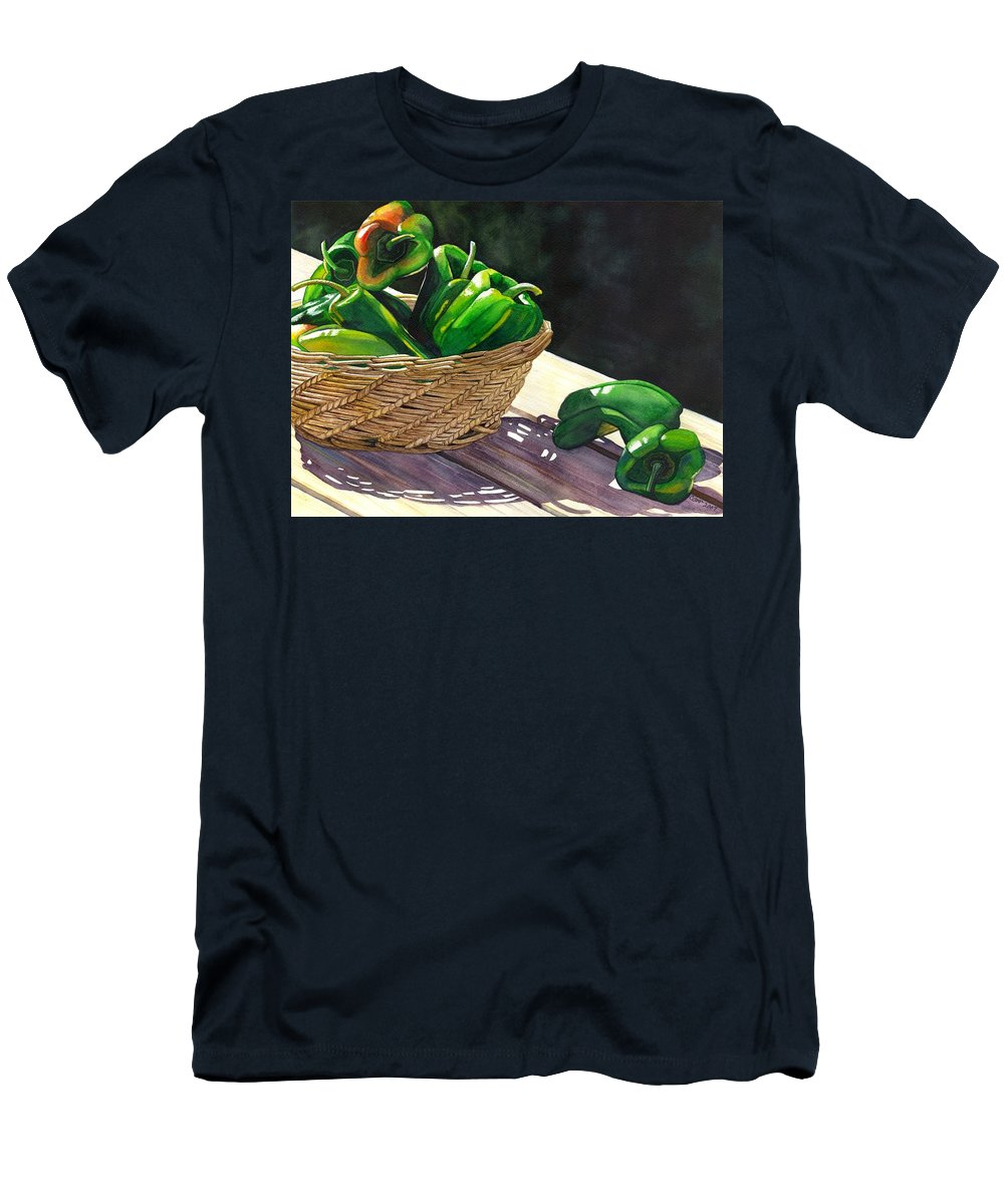 Peppers Men's T-Shirt (Athletic Fit) featuring the painting Peppers by Catherine G McElroy