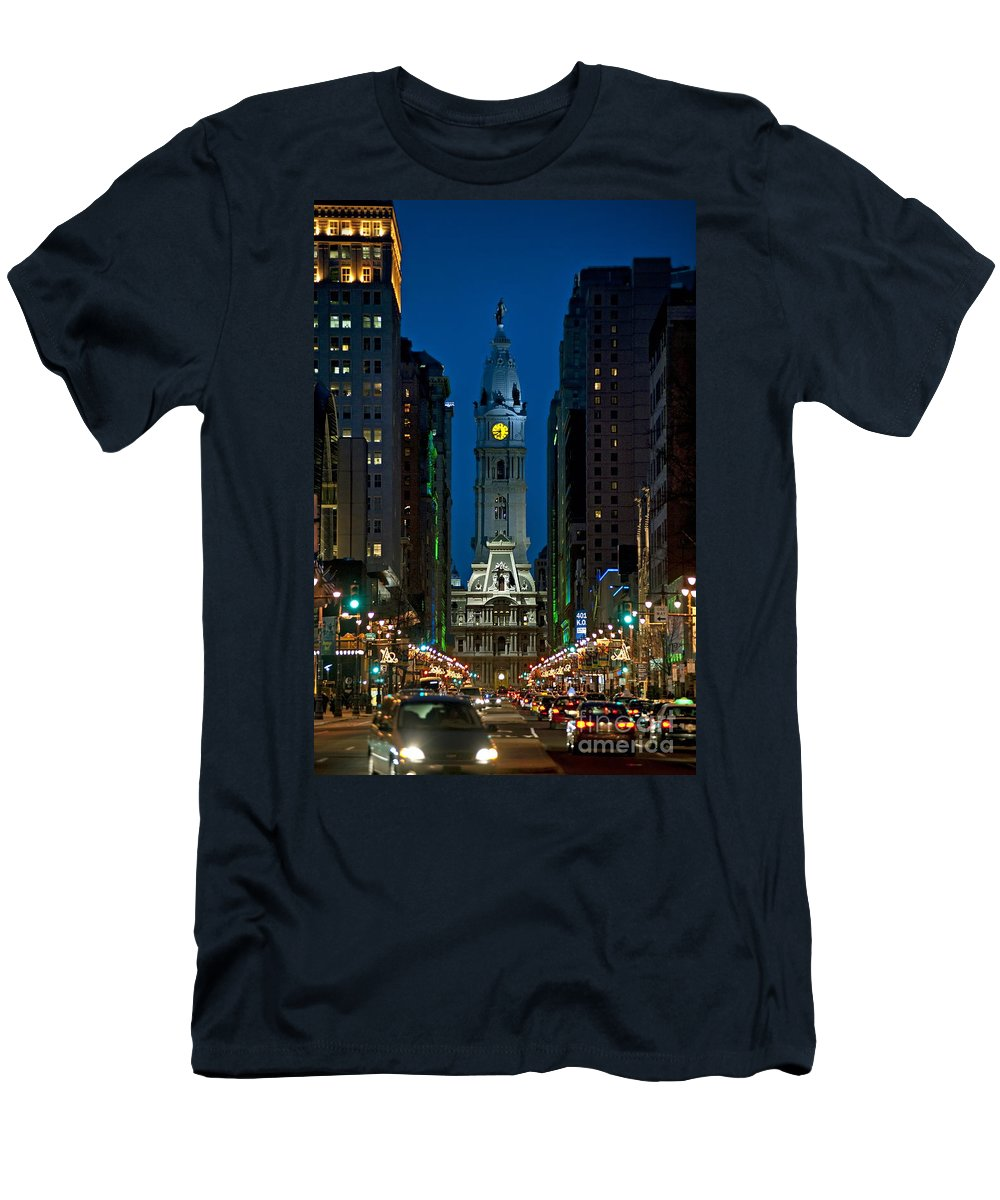 Broad Street Men's T-Shirt (Athletic Fit) featuring the photograph Philadelphia by John Greim