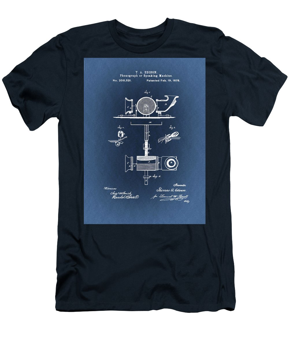 Thomas Edison T-Shirt featuring the drawing Phonograph Patent From 1878 Blueprint by Art Spectrum