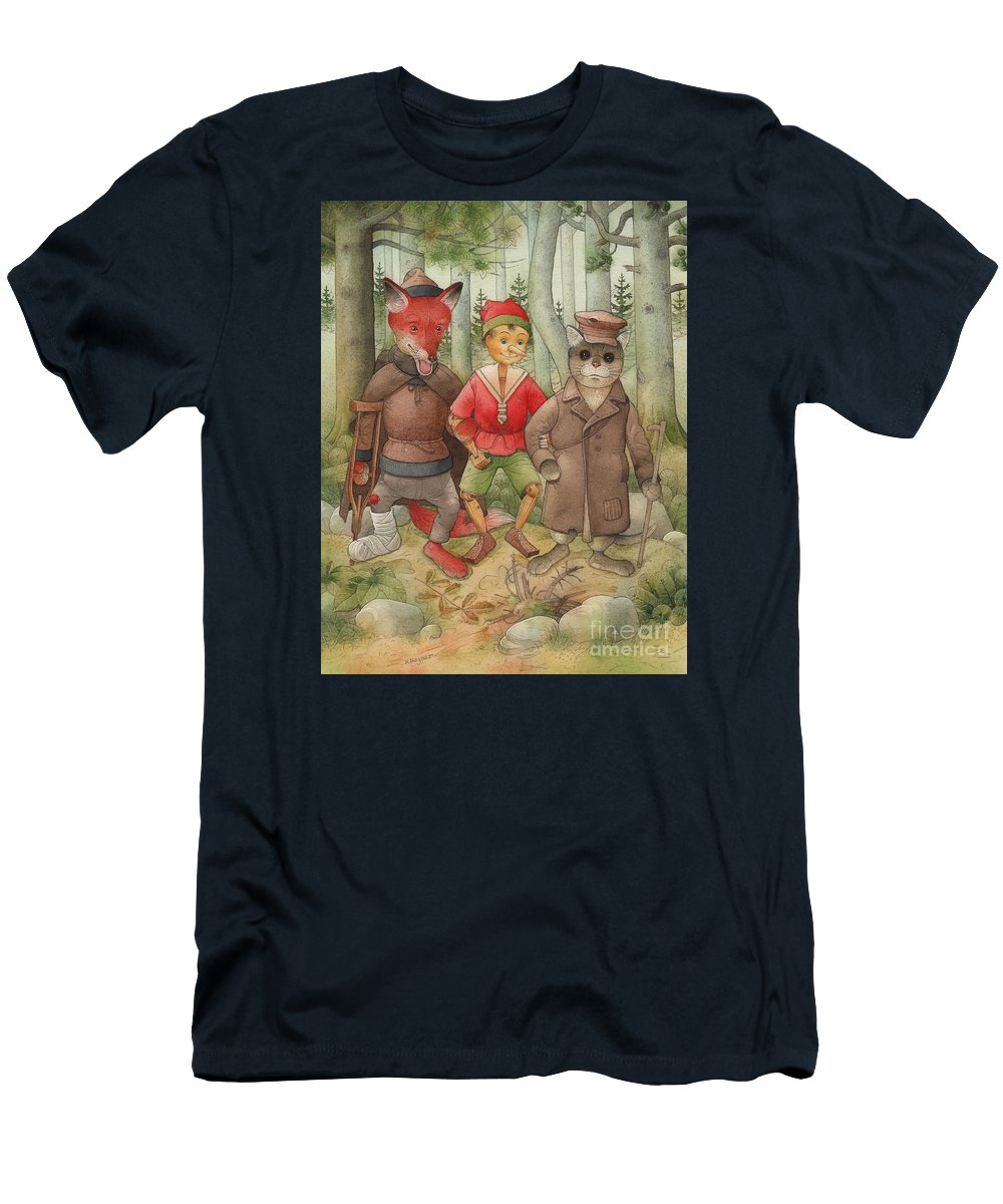 Cat Fox Forest Landscape Green Red T-Shirt featuring the painting Pinocchio01 by Kestutis Kasparavicius