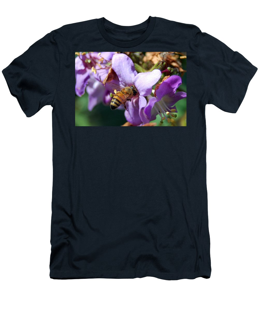 Flower Men's T-Shirt (Athletic Fit) featuring the photograph Pollinating 2 by Amy Fose