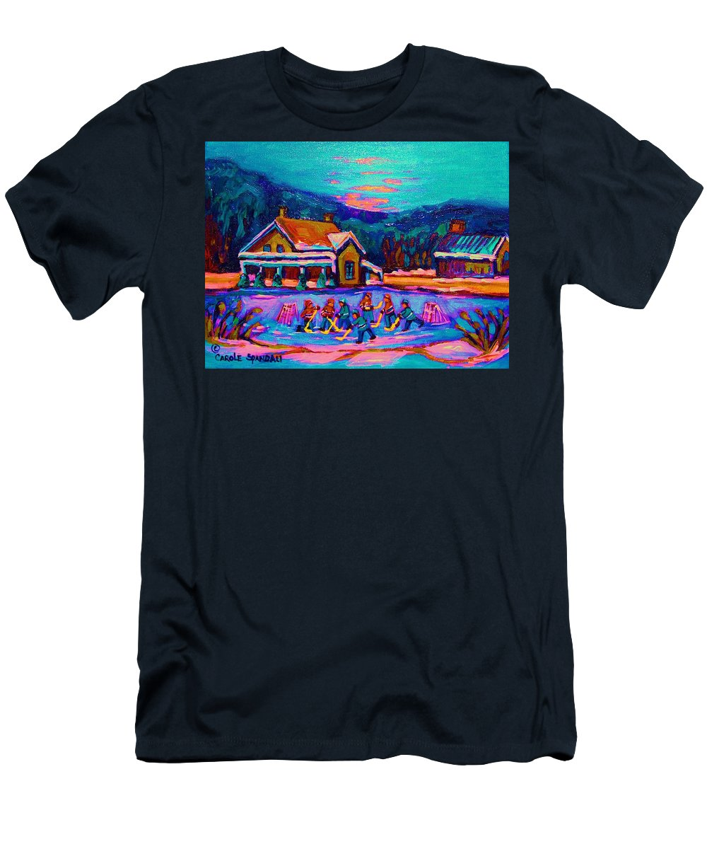 Pond Hockey Men's T-Shirt (Athletic Fit) featuring the painting Pond Hockey Two by Carole Spandau