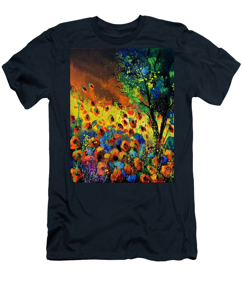 Poppies Men's T-Shirt (Athletic Fit) featuring the painting Poppies 456150 by Pol Ledent